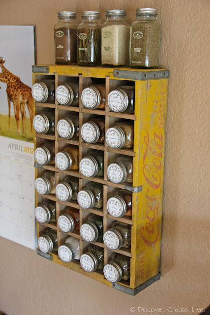 spice cupboard organization - coca cola crate spice rack