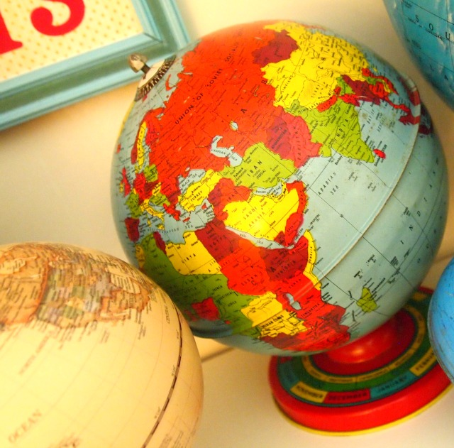 colorful vintage globe