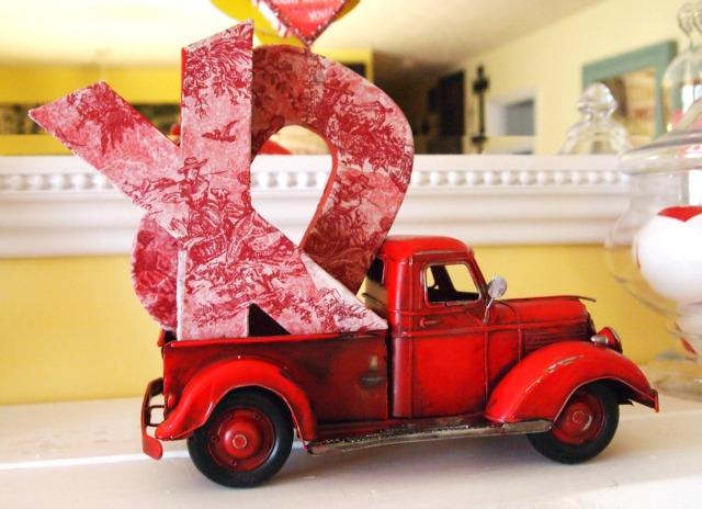 decopauged cardboard letters - Vintage Valentine Decorations