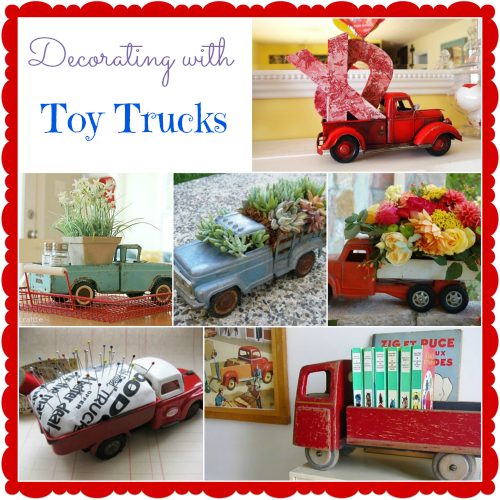 Ideas for decorating with vintage toy trucks