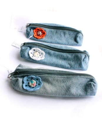 denim pencil pouch