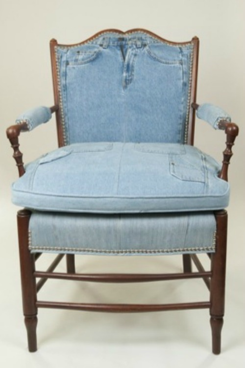 denim upholstered chair