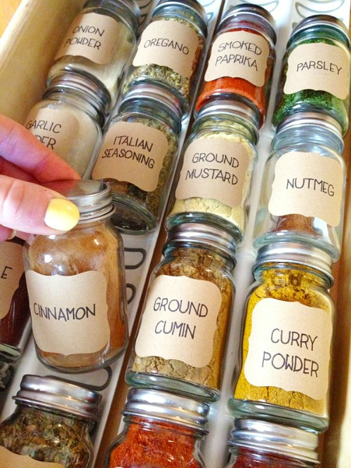IKEA Spice Drawer Organization- Get your spices organized quickly and easily with these great spice cupboard organization ideas! Spice drawer organizing tips also included! | spice cabinet organization, spice drawer organizing hacks, how to organize your spices, kitchen organizing ides, #organizingTips #organization #ACultivatedNest