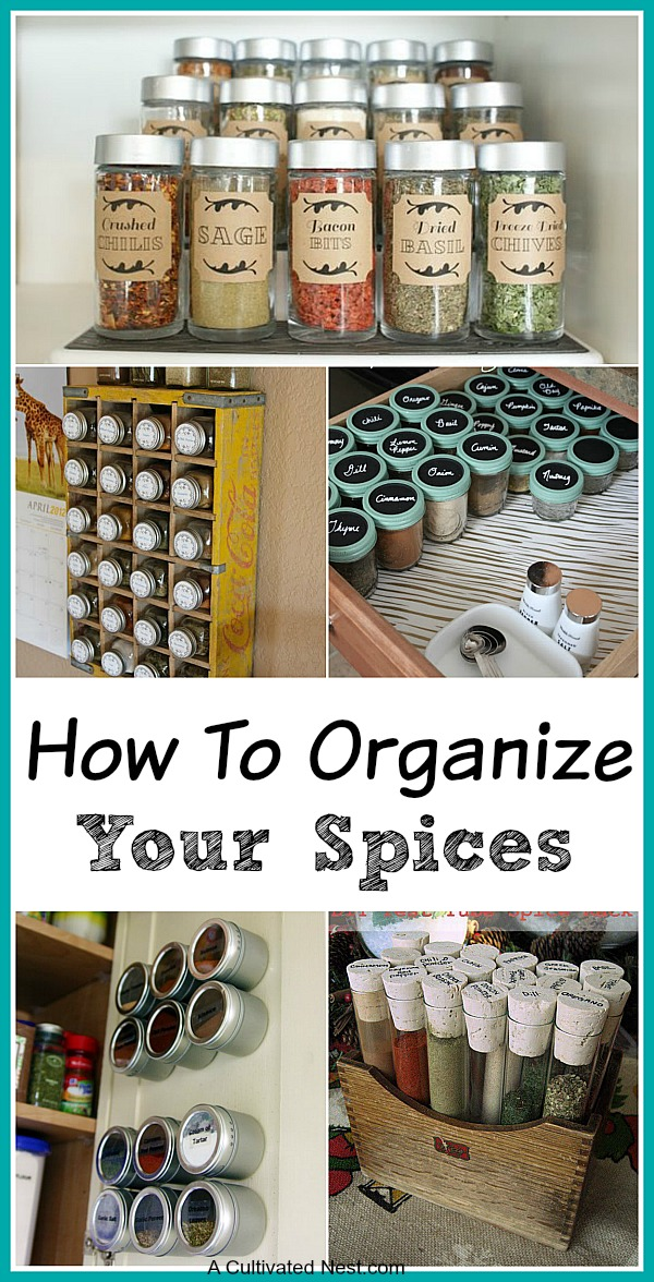 10 Spice Cupboard Organization Ideas- Tired of digging through a mess of spices to find the one you want? Get your spices organized quickly and easily with these great spice organization ideas! | spice cabinet organization, spice drawer organizing hacks, how to organize your spices, kitchen organizing ides, #organizingTips #organization #ACultivatedNest