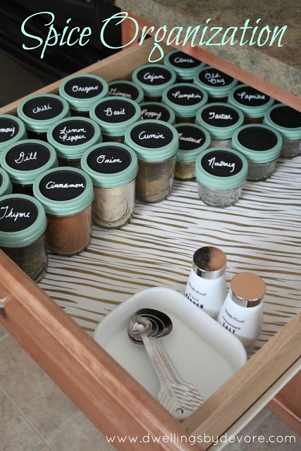Spice Drawer Jars- Get your spices organized quickly and easily with these great spice cupboard organization ideas! Spice drawer organizing tips also included! | spice cabinet organization, spice drawer organizing hacks, how to organize your spices, kitchen organizing ides, #organizingTips #organization #ACultivatedNest
