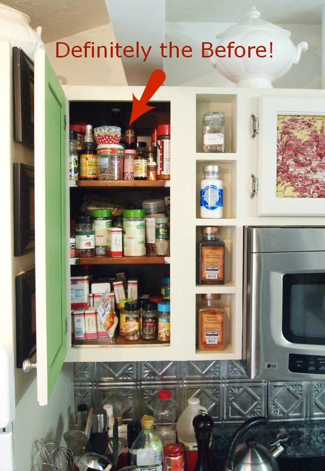 Spice Cabinet Before- Get your spices organized quickly and easily with these great spice cupboard organization ideas! Spice drawer organizing tips also included! | spice cabinet organization, spice drawer organizing hacks, how to organize your spices, kitchen organizing ides, #organizingTips #organization #ACultivatedNest