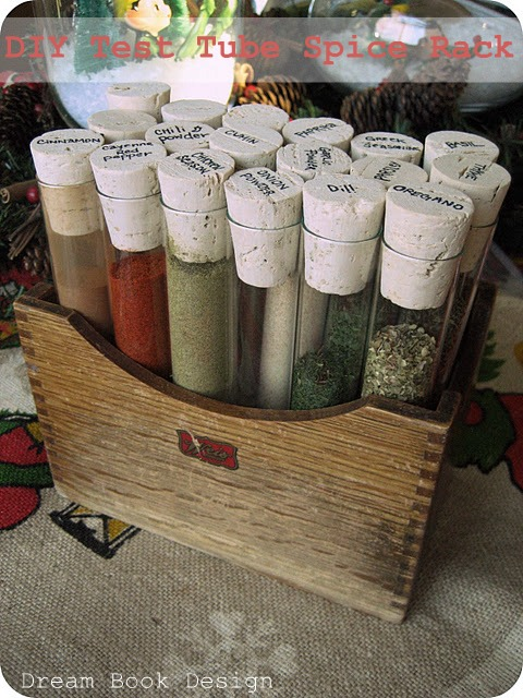 Test Tube Spice Rack- Get your spices organized quickly and easily with these great spice cupboard organization ideas! Spice drawer organizing tips also included! | spice cabinet organization, spice drawer organizing hacks, how to organize your spices, kitchen organizing ides, #organizingTips #organization #ACultivatedNest