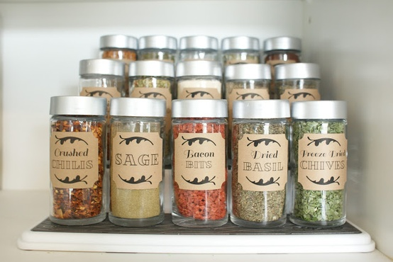 Spice cupboard organization using dollar store spice jars