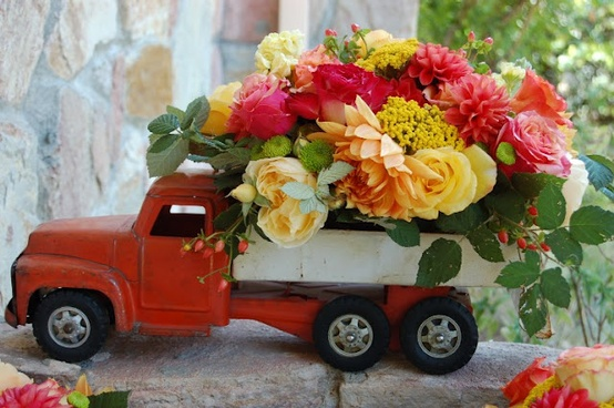 toy truck with flowers