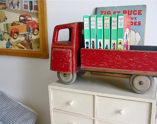 toy truck with books
