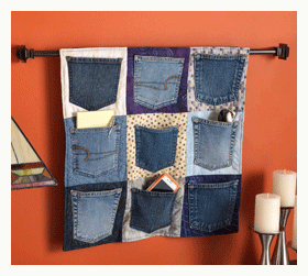 upcycled denim pockets