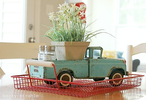 vintage toy truck with flowers