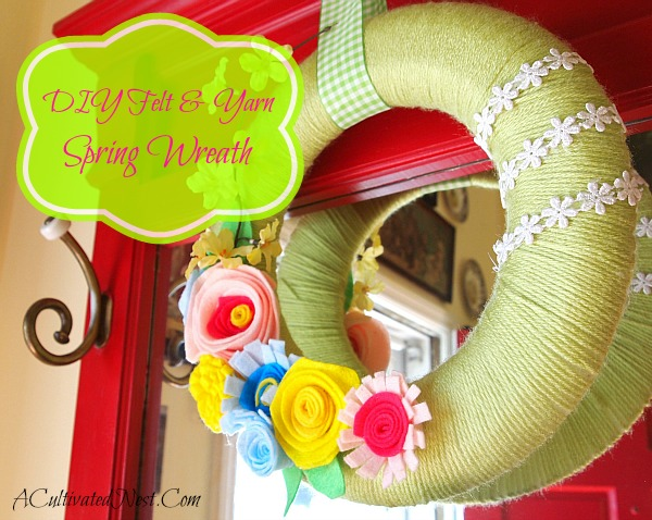 DIY Felt & Yarn Spring Wreath