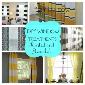 DIY window treatments painted and stenciled