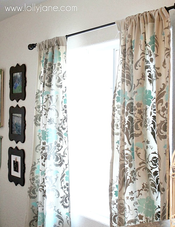 Painted or Stenciled Curtain Ideas | stenciled curtains from Lolly Jane