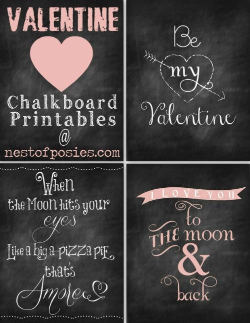 14 Valentine's Day Printables | Free Valentine chalkboard printable