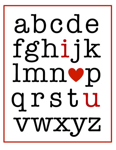 Valentine alphabet printable