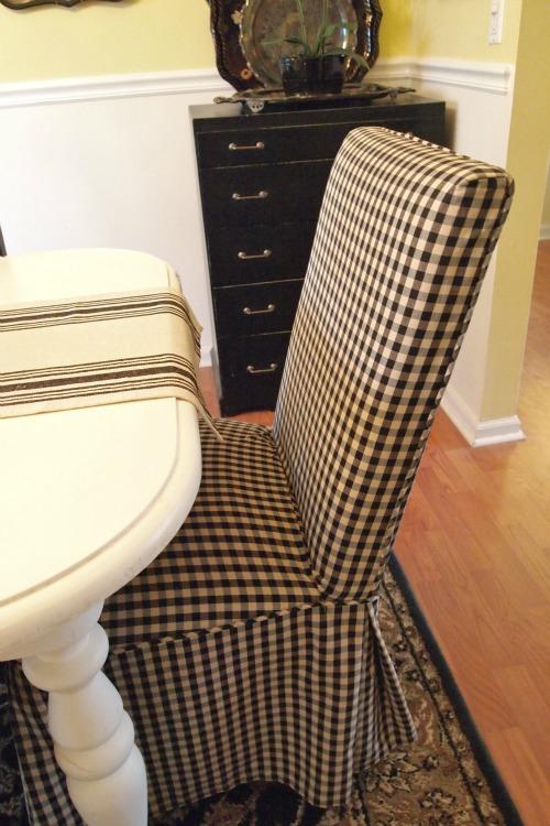 black & cream checked parsons chair