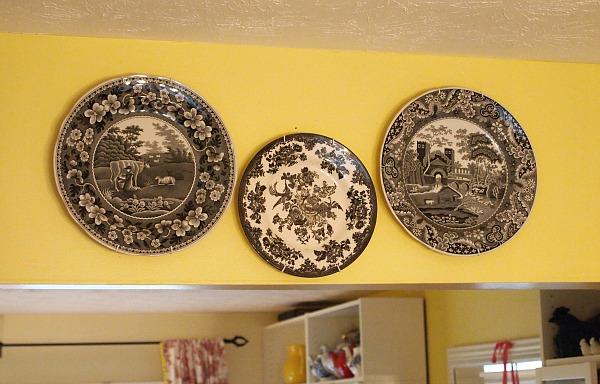 black transferware plates