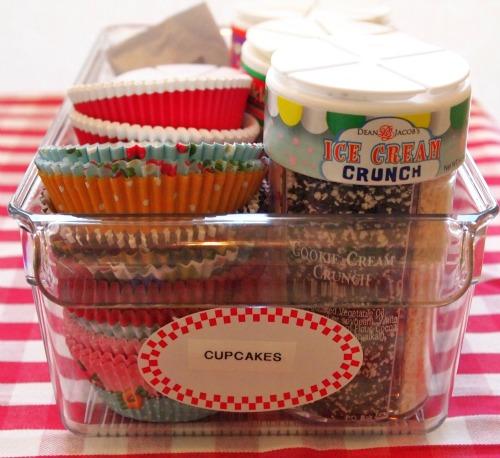 cupcake topping & liner organization