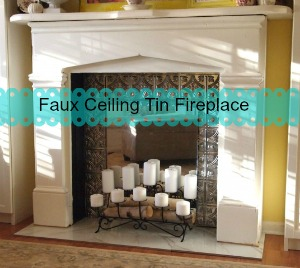 faux ceiling tin fireplace