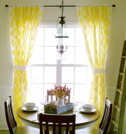 DIY painted curtains - morrocan pattern stenciled on curtains
