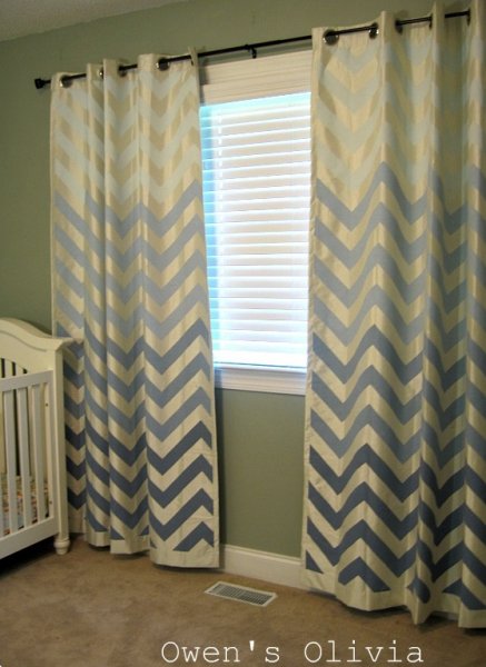 ombre chevron painted curtains