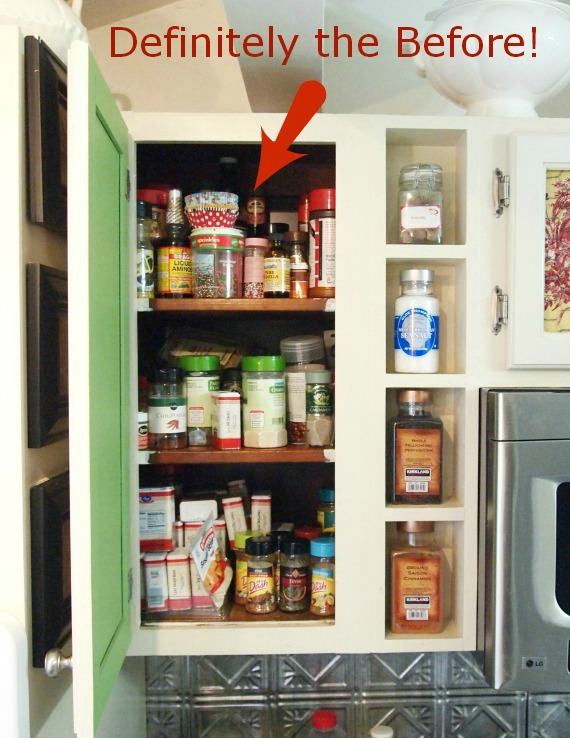 spice cabinet makeover before