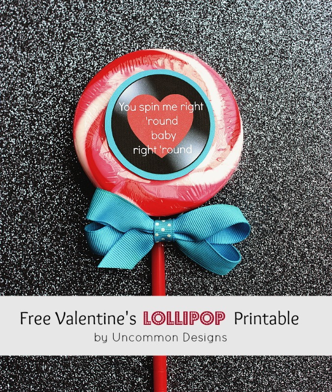 lollipop printable for Valentine's Day