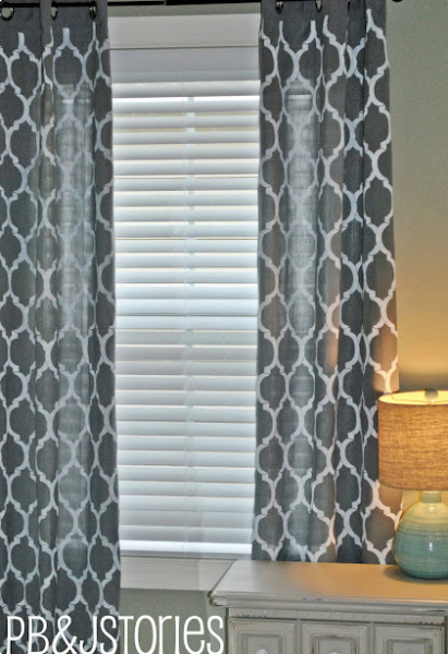 DIY painted curtains - gray and white stenciled curtains