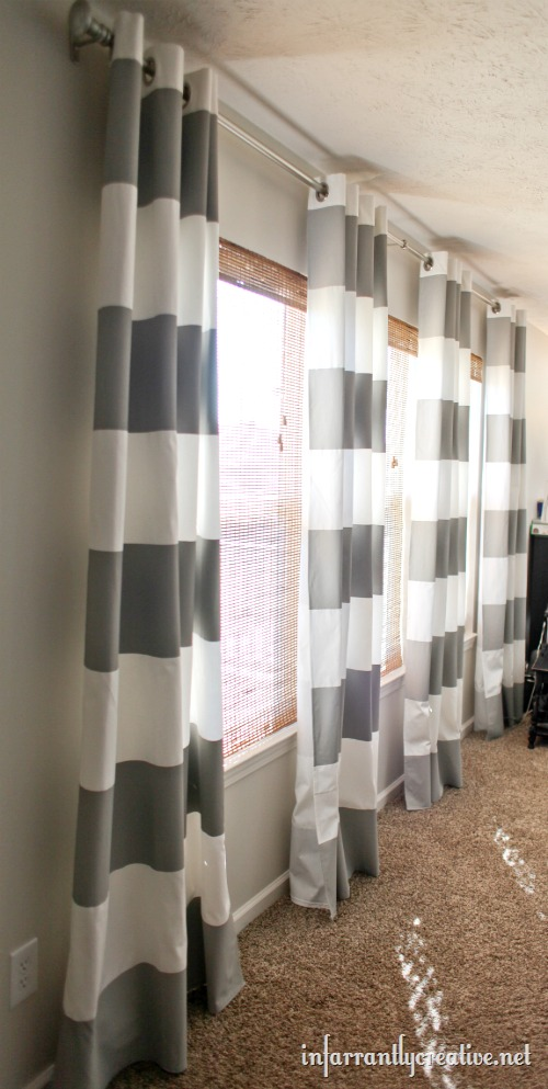 DIY Painted Curtains Like These Striped Gray Curtains From Infarrantly  Creative