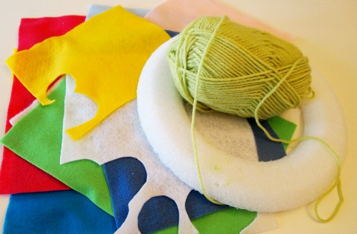 supplies for felt & yarn spring wreath