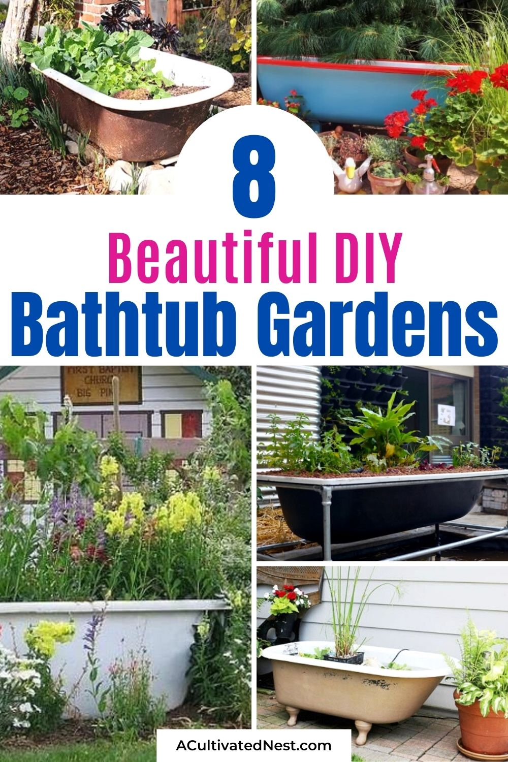 Using An Old Bathtub As A Container In Your Garden- Using an old bathtub as a container garden is a lovely way to enhance your garden's design! Bathtub container gardens are easy to make, too, and hold a lot of plants! | upcycle bathtub, recycle bathtub, ways to use a vintage bathtub, #gardenDIY #containerGarden #gardeningTips #upcycle #ACultivatedNest