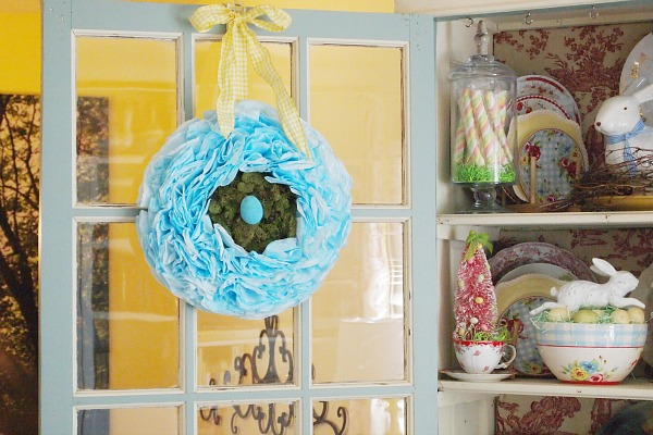 aqua Easter coffee filter wreath