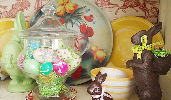 Easter eggs in apothecary jar