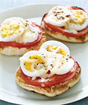 12 Recipes for Leftover Easter Eggs: english muffin hardboiled egg pizza