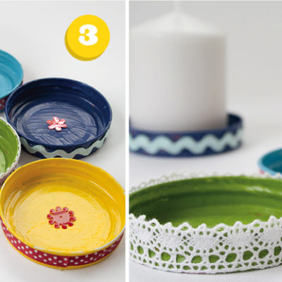 candle plates from old lids