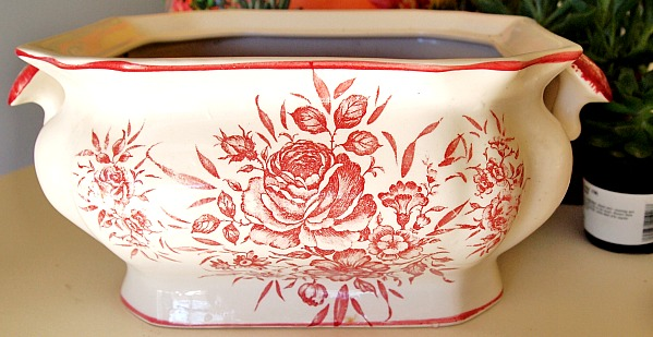 red transferware soup tureen
