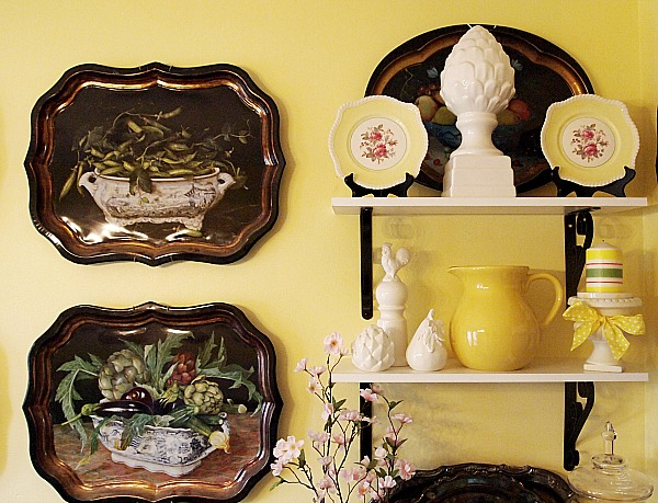 shelves with yellow and white accessories