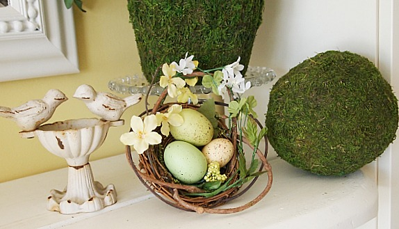 spring decorating with nests and eggs