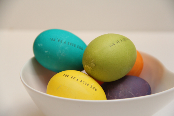 Easter egg decorating ideas - stamped Easter eggs