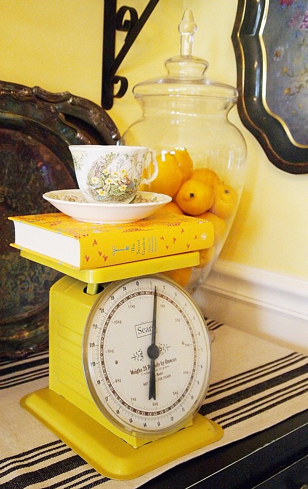vintage yellow kitchen scale