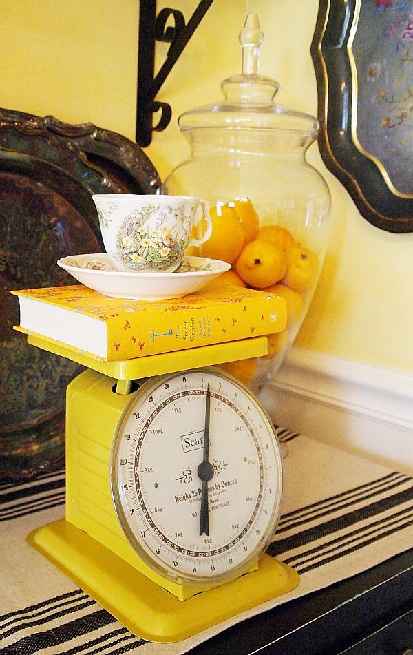 vintage yellow kitchen scale