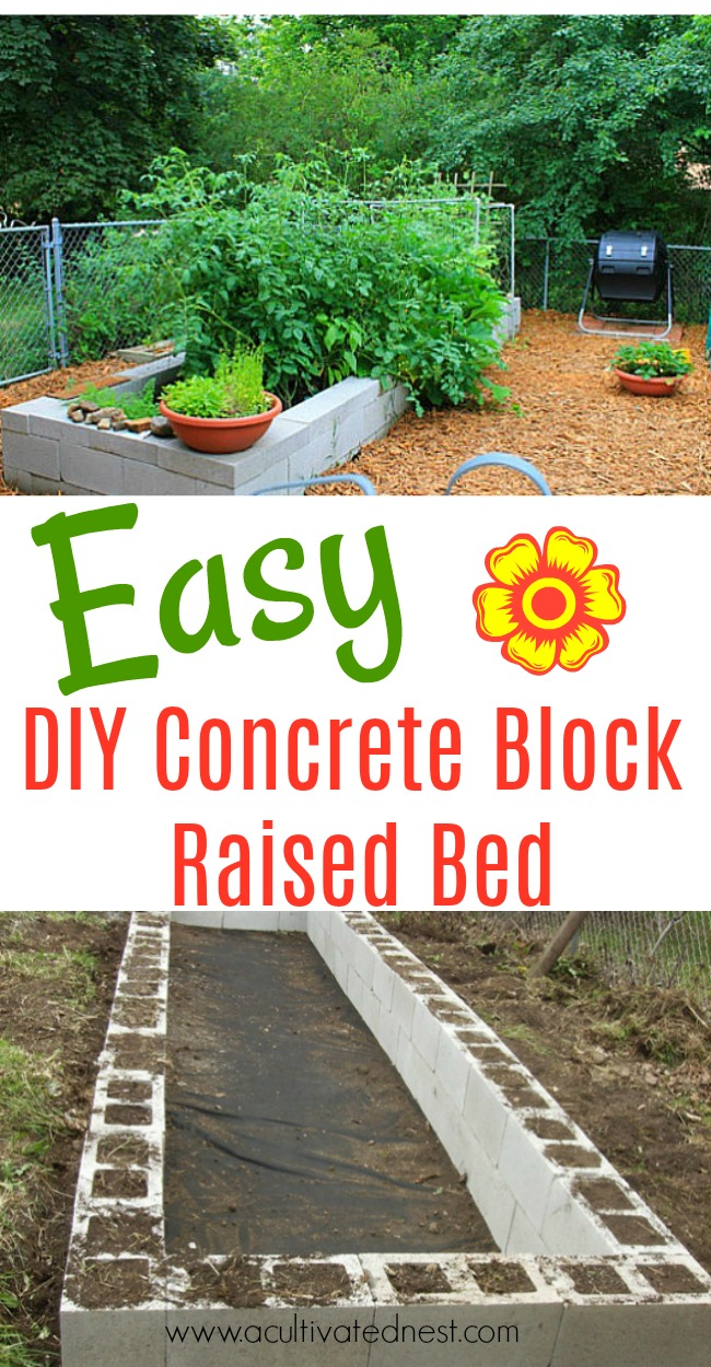 DIY Concrete Block Raised Bed - Learn how to easily build a raised garden bed with concrete blocks (aka cinder blocks) . Gardening ideas, how to build a raised bed garden, vegetable gardening ideas.