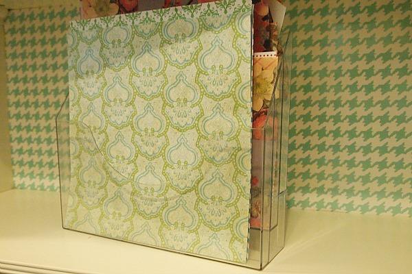 acrylic file sorter organizes scrapbook paper