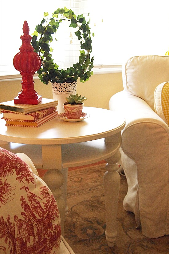 fabric covered books on end table