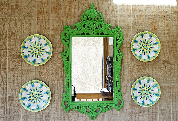 green scrolly porch mirror