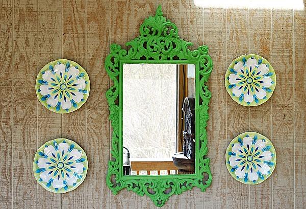 green scrolly porch mirror