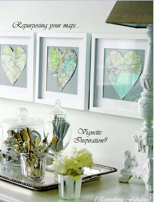 framed map hearts