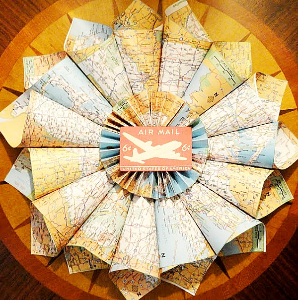 wreath made from maps